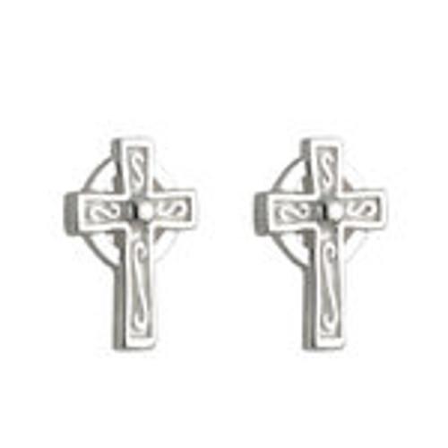 Kids Sterling Silver Celtic Cross Stud Earrings S33387