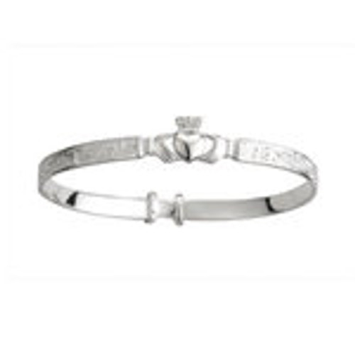Kids Sterling Silver Claddagh Celtic Baby Bangle S5268