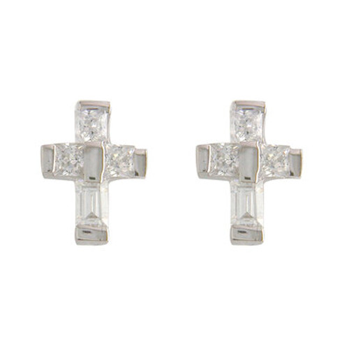 STERLING SILVER CZ BAGUETTE CROSS STUD EARRINGS