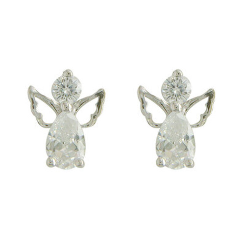 STERLING SILVER CZ ANGEL STUD EARRINGS