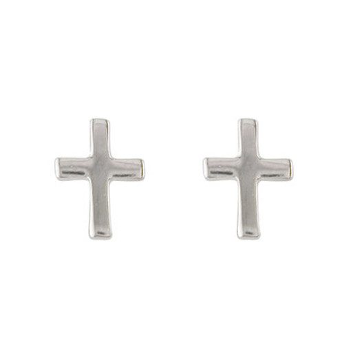 STERLING SILVER CZ  CROSS STUD EARRINGS