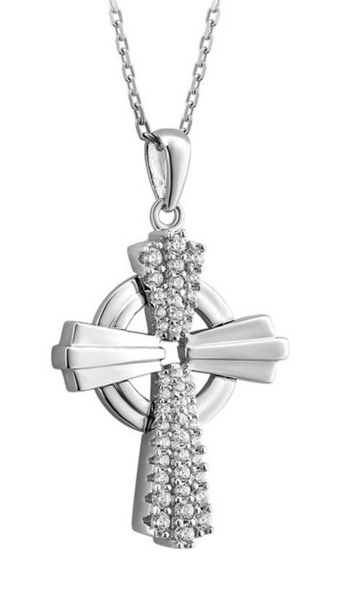 Sterling Silver & Cubic Zirconia Edge Celtic Cross Pendant S46676