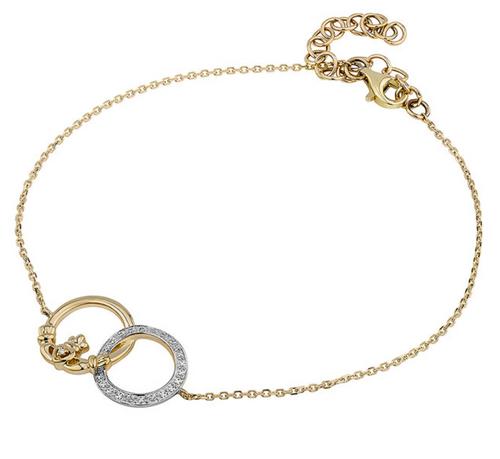 14K Gold Claddagh & Diamond Circle Bracelet S50035