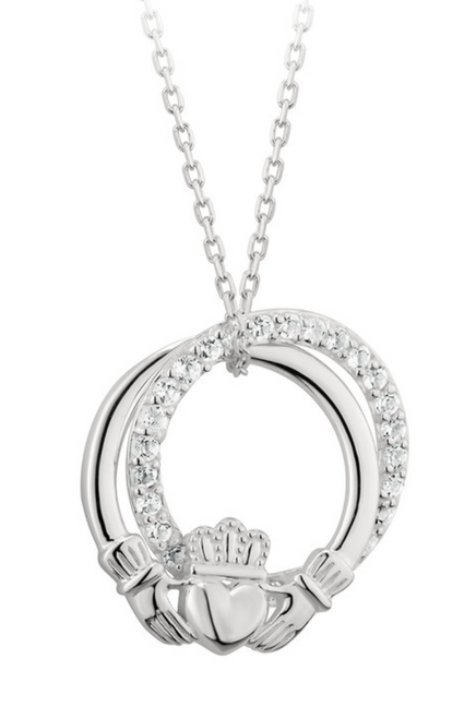 Silver Cubic Zarconia Claddagh Circle Pendant