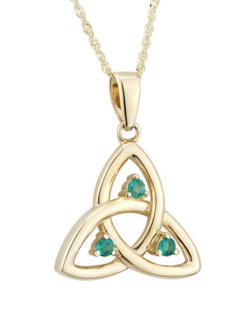 10K Emerald Trinity Pendant