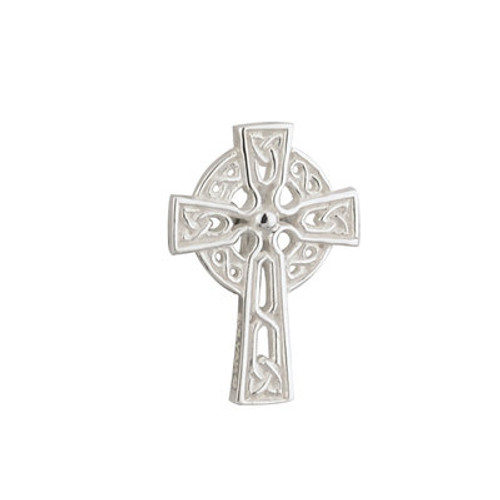 RHODIUM PLATED CELTIC CROSS COMMUNION CLUTCH PIN