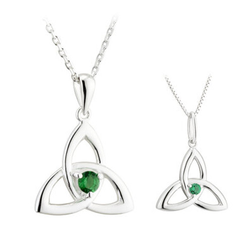 STERLING SILVER CRYSTAL TRINITY KNOT MOTHER & DAUGHTER PENDANT SET