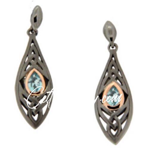 S/sil Ruthenium + 10k Rose Sky Blue Topaz Elven Post Earrings By Keith Jack