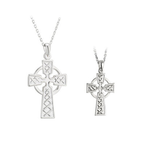 Sterling Silver Celtic Cross Mother & Daughter Pendant Set S46858