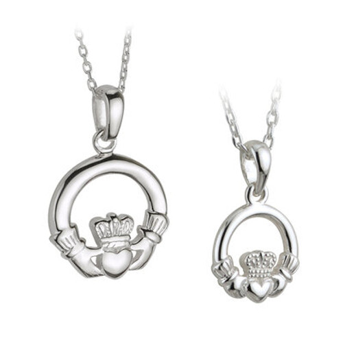 STERLING SILVER CLADDAGH  MOTHER & DAUGHTER PENDANT SET