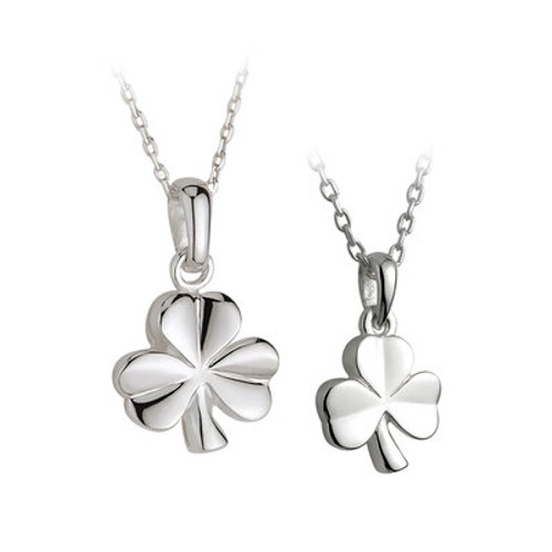 STERLING SILVER SHAMROCK  MOTHER & DAUGHTER PENDANT SET