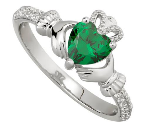 S/S CZ Claddagh Birthstone Ring - May
