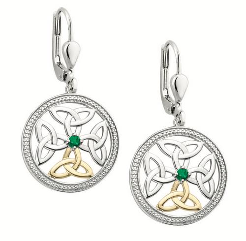 Silver & 10k Gold Emerald Celtic Knot Earrings
