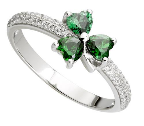 S/S Green Cubic Zirconia Shamrock Ring