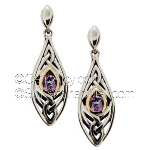 These earrings are part of the Elven Collection.     Materials: Sterling Silver with 10k Yellow Gold and Amethyst  Dimensions (h x w):  3/8″  x  1 3/8″  Details:post  Wear these earrings as a symbol of your connection to nature and its unknown magic     Pair this piece with the PPX8390-AM Elven necklace to complete the set.