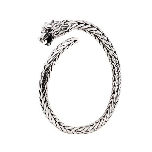 """NEW! Sterling Silver Oxidized Tapered Wolf Head Dragon Weave Cuff  by KEITH JACK  8"""""""