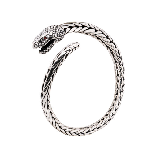 """NEW! Sterling Silver Oxidized Tapered Snake Head Dragon Weave Cuff  by KEITH JACK  8"""""""