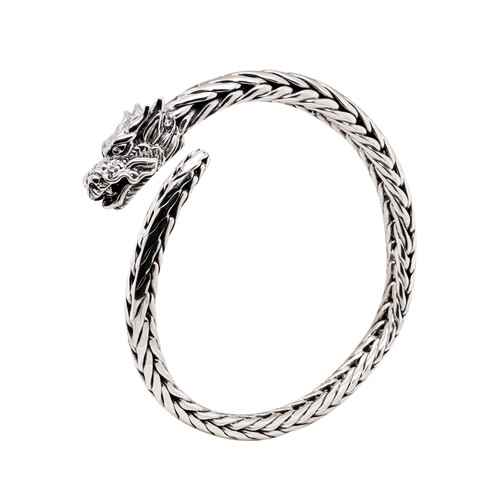 """NEW! Sterling Silver Oxidized Tapered Dragon Head Dragon Weave Cuff  by KEITH JACK  8"""""""