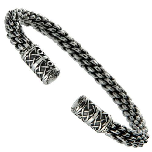 "Sterling Silver Celtic Torc XL Bangle Bracelet PBS7600 by Keith Jack 8.5"""