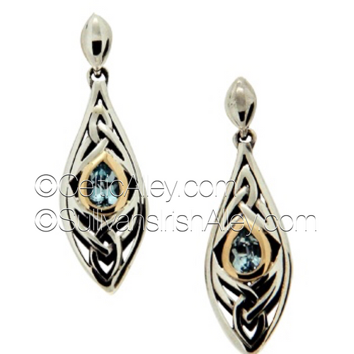 These earrings are part of the Elven Collection.  Materials: Sterling Silver with 10k Yellow Gold and Sky Blue Topaz  Dimensions (h x w):  3/8″  x  1 3/8″  Details:post  Wear these earrings as a symbol of your connection to nature and its unknown magic  Pair this piece with the PPX8390-BT Elven necklace to complete the set.