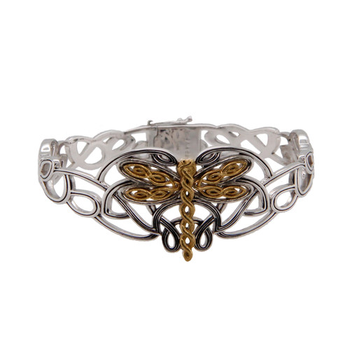 Sterling Silver Oxidized and 10k Yellow Gold Dragonfly Bangle by KEITH JACK PBX0082