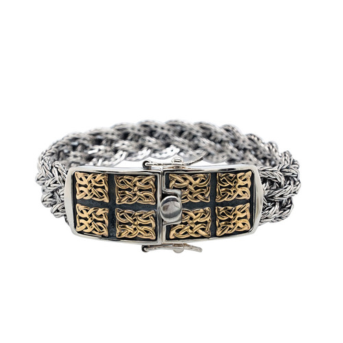 Sterling Silver and 10k Norse Forge Dragon Weave Bracelet Bracelet by Keith Jack PBX7950
