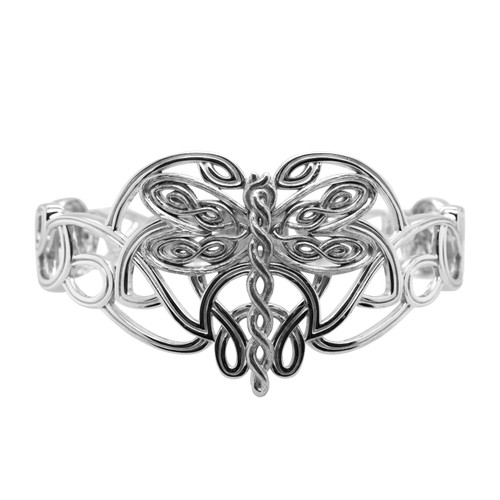 Sterling Silver  Oxidized Dragonfly Bangle by KEITH JACK PBS0079