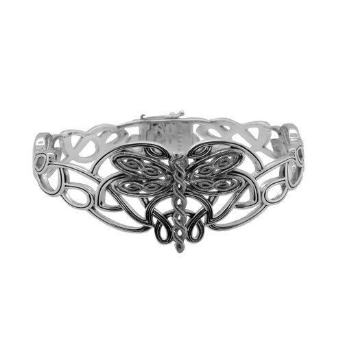 Sterling Silver  Oxidized Dragonfly Small Bangle by KEITH JACK PBS0082