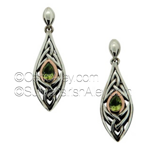 These earrings are part of the Elven Collection.     Materials: Sterling Silver with 10k Yellow Gold and Peridot  Dimensions (h x w):  3/8″  x  1 3/8″  Details: post  Wear these earrings as a symbol of your connection to nature and its unknown magic     Pair this piece with the PPX8390-PER Elven necklace to complete the set.