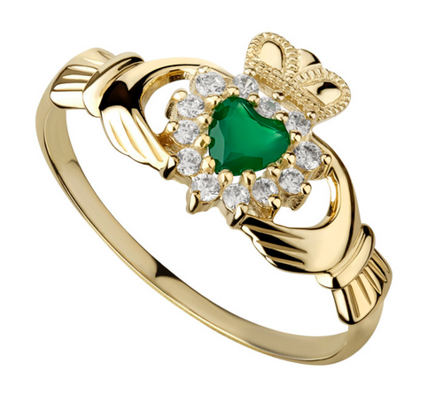 10k Gold, Green Agate & Cubic Zirconia Claddagh Ring S2523