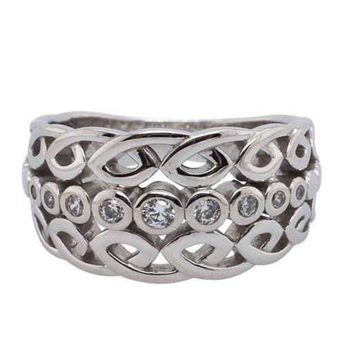 Sterling Silver White CZ Bridge Ring sizes 5-11 by KEITH JACK PRS0073