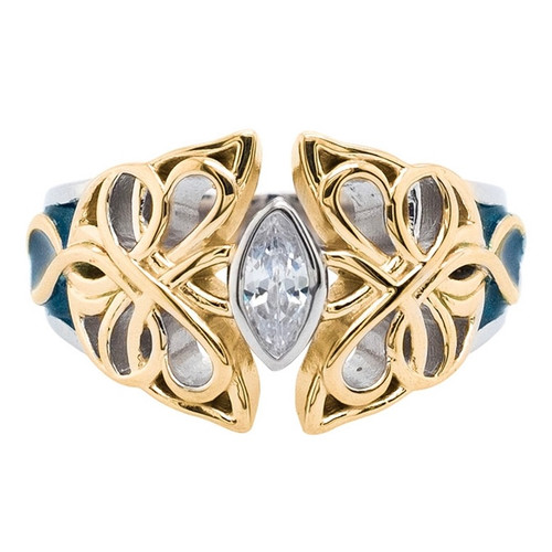 Sterling Silver and 10k Yellow Sky Blue Enamel and White CZ Butterfly Ring  sizes 5-11 by KEITH JACK PREX0074