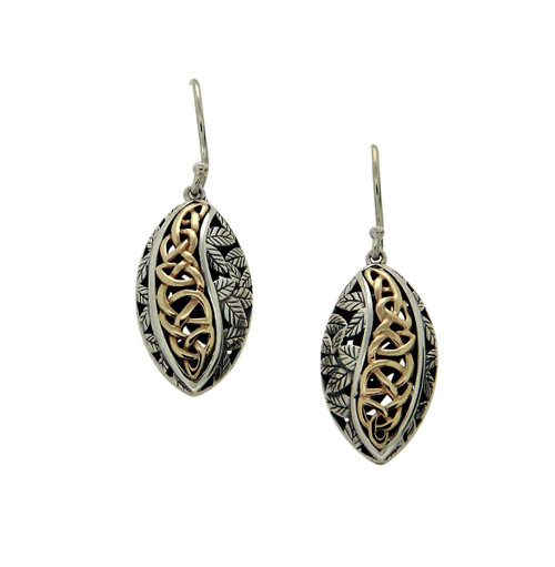 S/sil Oxidized + 10k Eternity Leaf Hook Earrings By Keith Jack