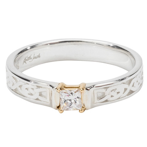 """Sterling Silver and 10k Princess Cut """"Anna""""  Ring with CZ.25 sizes 5-10 PRX5391"""