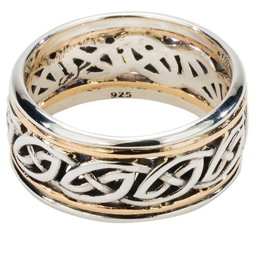 """Sterling Silver and 10k Eternity Knot with Two Sets of Rails """"Isla"""" Ring with Oxidization sizes 5-15 by KEITH JACK PRX33369"""