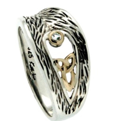 Sterling Silver and 10k Trinity Knot with White Sapphire Ring (Tapered) sizes 5-11 PRX6622