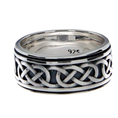 Sterling Silver Oxidized Celtic Love Knot Ring with Rails  sizes 8-15 PRS55953