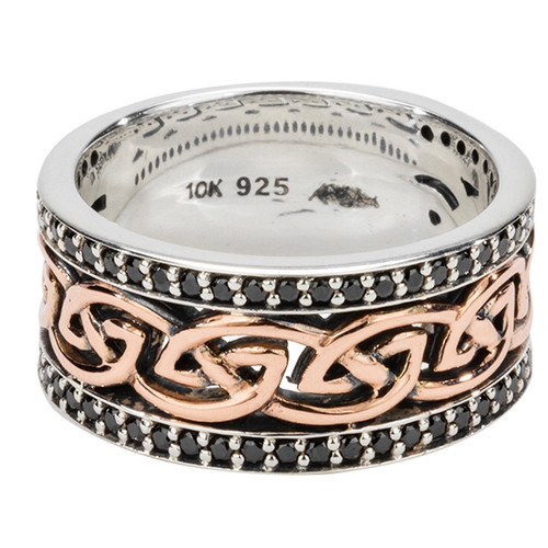 """Sterling Silver and 10k Rose Eternity Knot Black Cubic Zirconia """"Aylith"""" Ring with Oxidization sizes 6-13 by KEITH JACK PRX8103R-BLKCZ"""