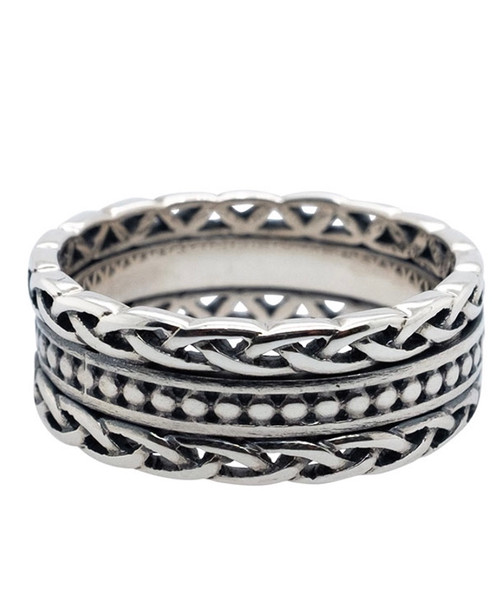 Sterling Silver Oxidized Beaded Ring with Knotwork Rails sizes 5-13 PRS25387