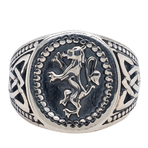 Sterling Silver Lion Rampant Large Ring (Tapered) sizes 6-13 by KEITH JACK PRS6982