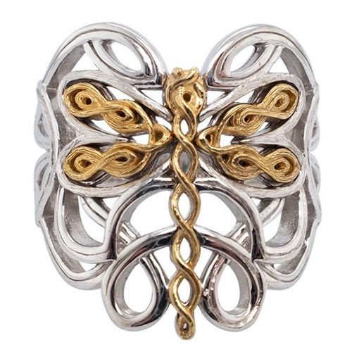 Sterling Silver Oxidized and 10k Yellow Dragonfly Ring by KEITH JACK sizes 6-12 PRX0080