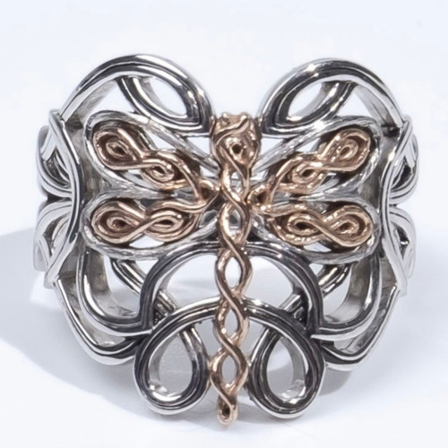 Sterling Silver Oxidized and 10k Rose Dragonfly Ring sizes  6-12 PRX0080-3