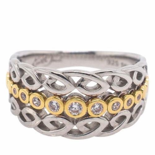 Sterling Silver and 10k Yellow Gold White CZ Bridge Ring sizes 5-11 PRX0073