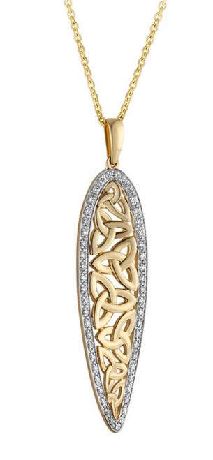 14k Yellow Gold Diamond Twist Trinity Knot Pendant  S46789