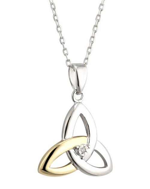 Silver & 10k Gold Diamond Trinity Knot Pendant S45347