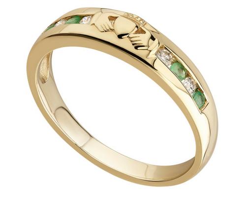14k Gold Diamond & Emerald Eternity Band Ring S2374