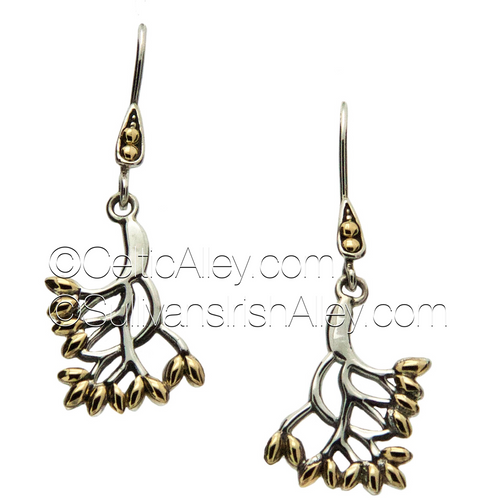 S/S and 18k Gold TREE OF LIFE Sm Hook Earrings PEX9003-S KEITH JACK (PEX9003-S