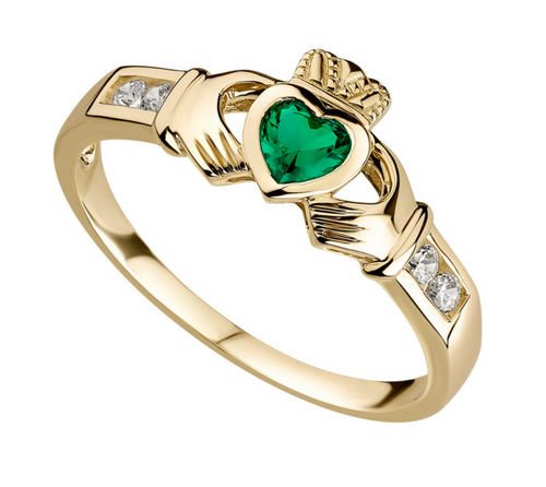 10k Gold Cubic Zirconia Claddagh Ring S2518