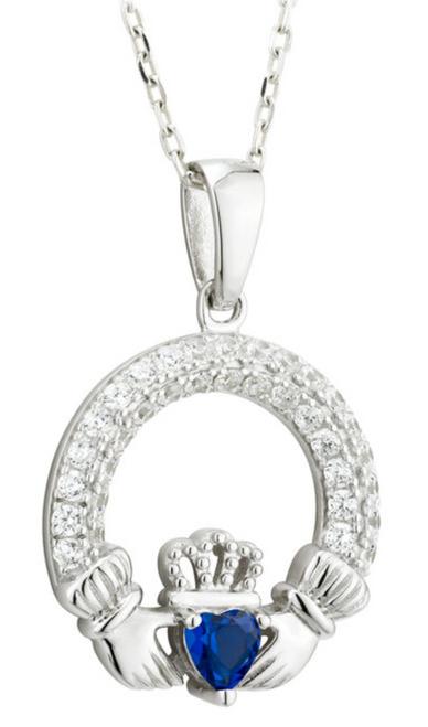 Silver & Cubic Zirconia Claddagh September Birthstone Pendant S46117-09