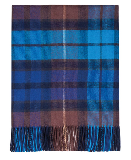 "Buchanan Blue Tartan Lambswool Throw Blanket 72"" x 56"""
